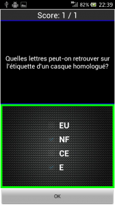 Android fiches plateau moto - QCM casque